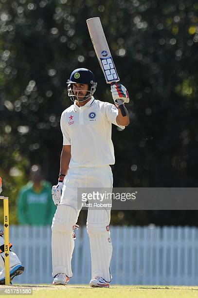 Manoj Tiwary of India A celebrates his half century during the Quadrangular Series match between Australia A and India A at Allan Border Field on...