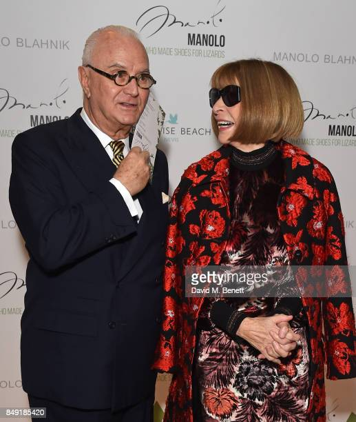 Manolo Blahnik and Anna Wintour attend the screening of 'Manolo The Boy Who Made Shoes For Lizards' during London Fashion Week September 2017 at...
