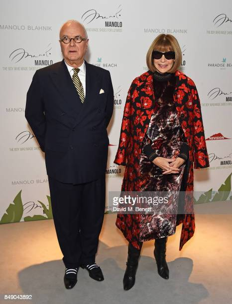 Manolo Blahnik and Dame Anna Wintour attend the screening of 'Manolo The Boy Who Made Shoes For Lizards' during London Fashion Week September 2017 at...