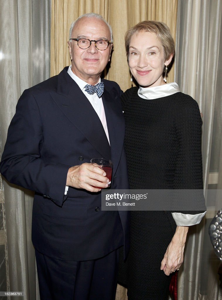 Manolo Blahnik (L) and new Editor-in-Chief of Harper's Bazaar UK Justine Picardie attends a cocktail party which they hosted with Penelope Tree to celebrate the life of noted columnist and fashion editor Diana Vreeland, following the UK premiere of Diana Vreeland: The Eye Has To Travel, at The Connaught Hotel on September 19, 2012 in London, England.