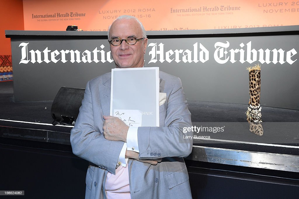 Manolo Blahnik attends the third day of the 2012 International Herald Tribune's Luxury Business Conference held at Rome Cavalieri on November 16, 2012 in Rome, Italy. The 12th annual IHT Luxury conference is the premier meeting point for the luxury industry. 500 delegates from 30 countries have gathered in Rome to hear from the world's most inspirational fashion designers and luxury business leaders.