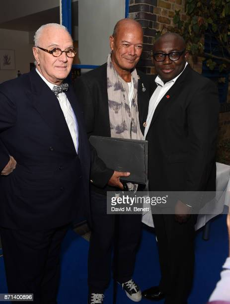 Manolo Blahnik Michael Roberts and Edward Enninful attend a dinner hosted by Jonathan Newhouse and Albert Read for Edward Enninful to celebrate the...