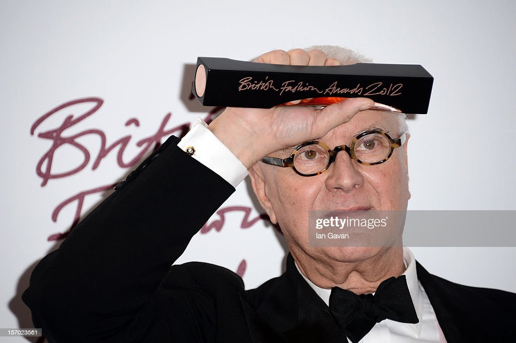 Manolo Blahnik, winner of the Outstanding Achievement in Fashion poses in the awards room at the British Fashion Awards 2012 at The Savoy Hotel on November 27, 2012 in London, England.