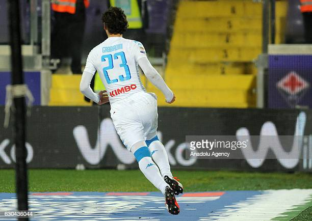 Manolo Gabbbiadini of SSC Napoli scores a penalty kick during the Italian Serie A soccer match between ACF Fiorentina and SSC Napoli at Stadio...