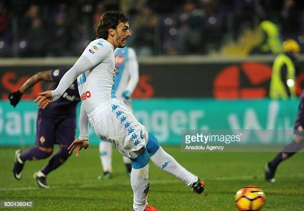 Manolo Gabbbiadini of SSC Napoli shoots a penalty kick during the Italian Serie A soccer match between ACF Fiorentina and SSC Napoli at Stadio...