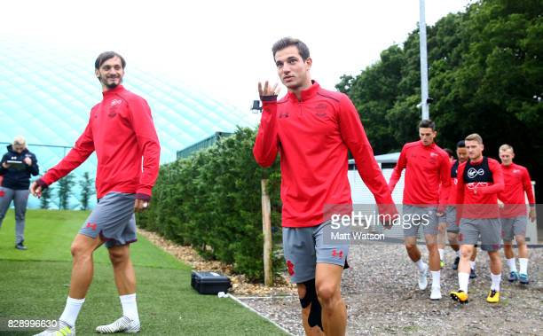 Manolo Gabbiadini and Cedric during a Southampton FC training session at the Staplewood Campus on August 9 2017 in Southampton England