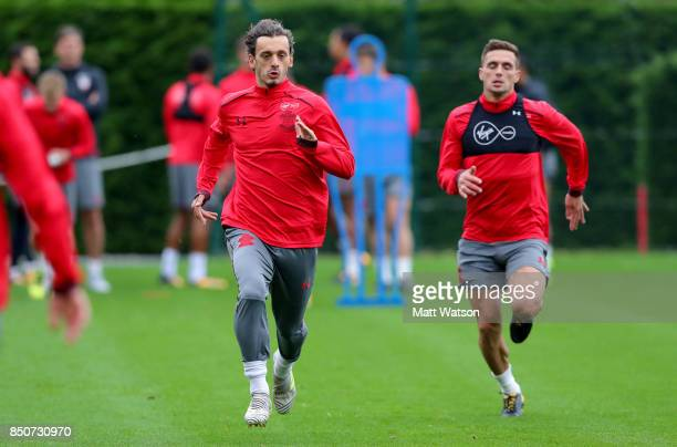 Manolo Gabbiadini and Dusan Tadic during a Southampton FC training session at the Staplewood Campus on September 21 2017 in Southampton England
