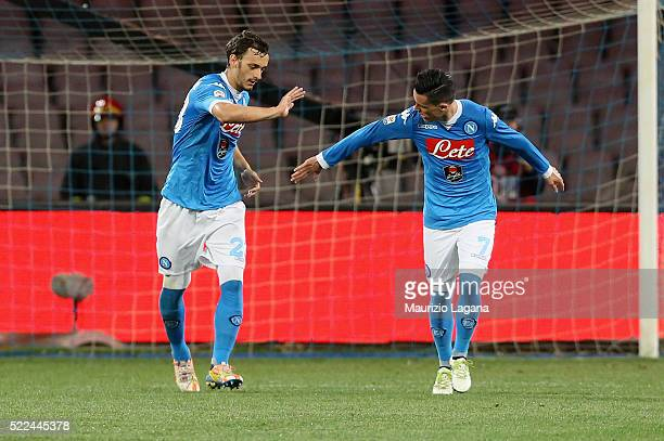 Manolo Gabbiadini and Josè Maria Callejon of Napoli celebrate the second goal during the Serie A match between SSC Napoli and Bologna FC at Stadio...
