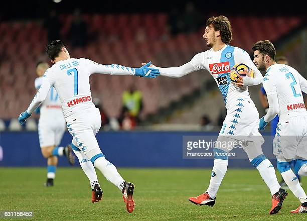 Manolo Gabbiadini and Jose Callejon of SSC Napoli celebrate the 11 goal scored by Manolo Gabbiadini during the Serie A match between SSC Napoli and...