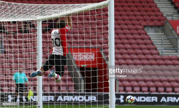 Manolo Gabbiadini celebrates after scoring Southampton's second during the preseason friendly between Southampton FC and Sevilla at St Mary's Stadium...