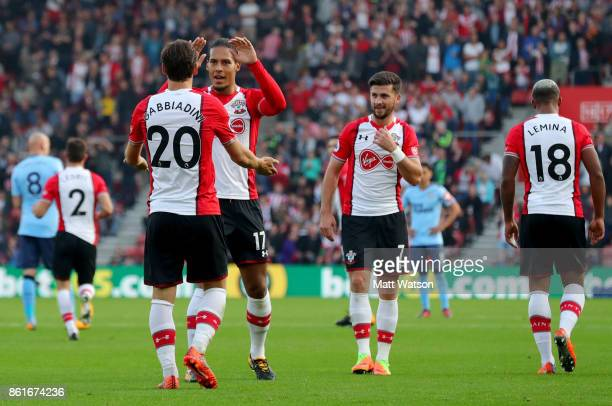 Manolo Gabbiadini celebrates his goal with Virgil Van Dijk during the Premier League match between Southampton and Newcastle United at St Mary's...