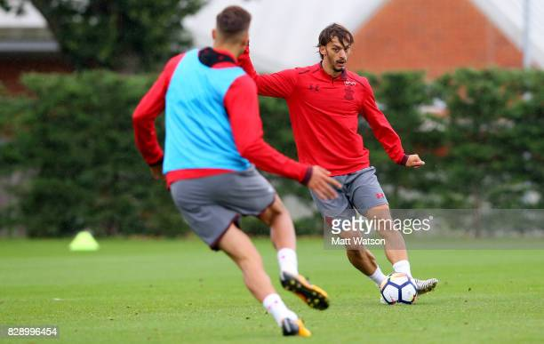 Manolo Gabbiadini during a Southampton FC training session at the Staplewood Campus on August 9 2017 in Southampton England