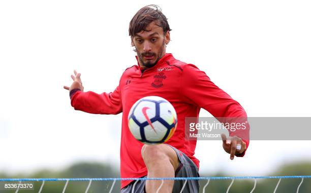 Manolo Gabbiadini during a Southampton FC training session at the Staplewood Campus on August 17 2017 in Southampton England