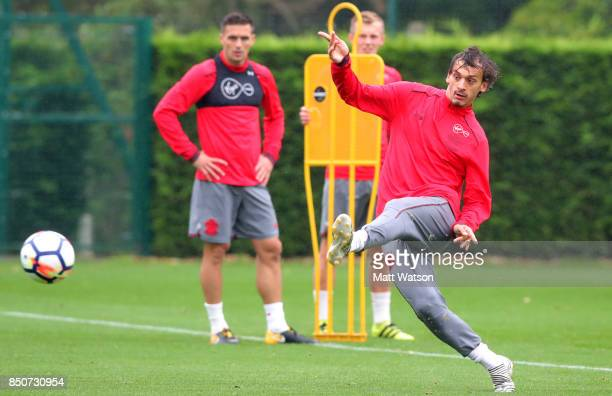 Manolo Gabbiadini during a Southampton FC training session at the Staplewood Campus on September 21 2017 in Southampton England