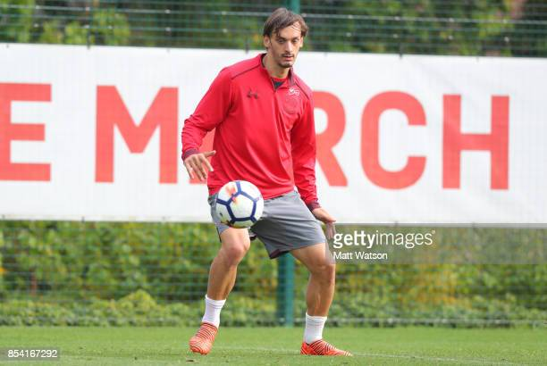 Manolo Gabbiadini during a Southampton FC training session at the Staplewood Campus on September 26 2017 in Southampton England