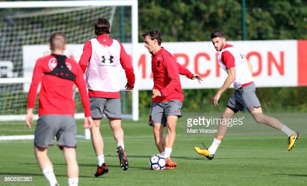 Manolo Gabbiadini during a Southampton FC training session at the Staplewood Campus on October 12 2017 in Southampton England