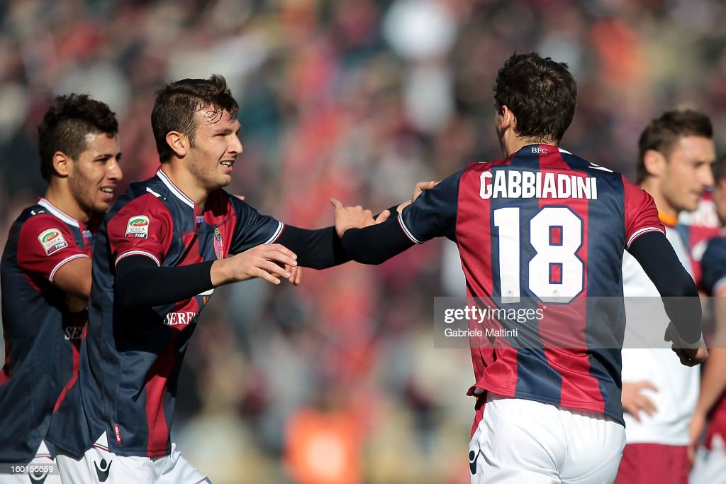 Manolo Gabbiadini #18 of Bologna FC celebrates with team-mates after scoring his team's first goal to equalise during the Serie A match between Bologna FC and AS Roma at Stadio Renato Dall'Ara on January 27, 2013 in Bologna, Italy.