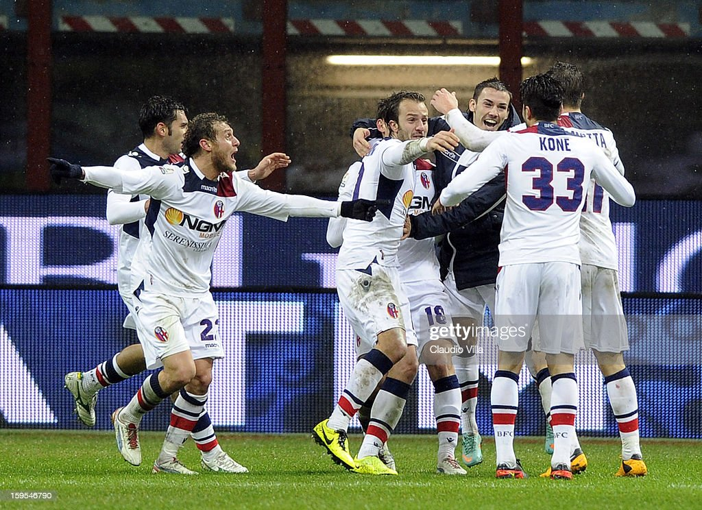 Manolo Gabbiadini of Bologna FC (#18) celebrates with teammates scoring the second goal during the TIM cup match between FC Internazionale Milano and Bologna FC at Stadio Giuseppe Meazza on January 15, 2013 in Milan, Italy.