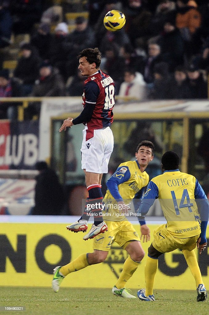 Manolo Gabbiadini of Bologna FC heads the ball during the Serie A match between Bologna FC and AC Chievo Verona at Stadio Renato Dall'Ara on January 12, 2013 in Bologna, Italy.