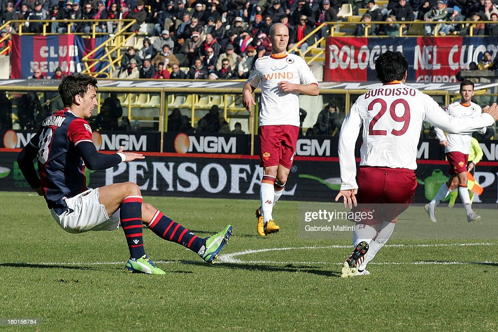 Manolo Gabbiadini of Bologna FC (L) scores his team's second goal during the Serie A match between Bologna FC and AS Roma at Stadio Renato Dall'Ara on January 27, 2013 in Bologna, Italy.