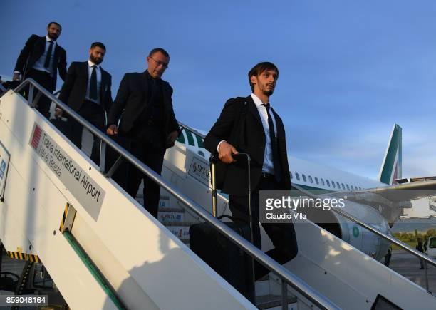 Manolo Gabbiadini of Italy arrives in Albania on October 8 2017 in Shkoder Albania