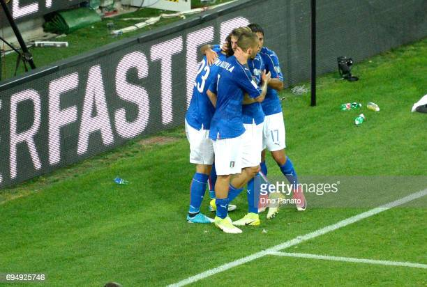 Manolo Gabbiadini of Italy celebrates after scoring his team's fivteth goal during the FIFA 2018 World Cup Qualifier between Italy and Liechtenstein...