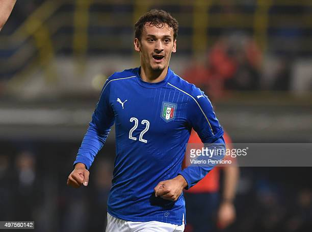 Manolo Gabbiadini of Italy celebrates after scoring the opening goal during the international friendly match between Italy and Romania at Stadio...