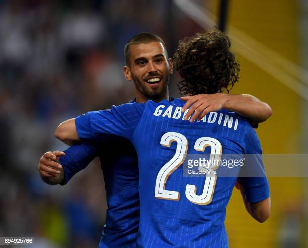 Manolo Gabbiadini of Italy celebrates after scoring with Leonardo Spinazzola the fifth goal during the FIFA 2018 World Cup Qualifier between Italy...