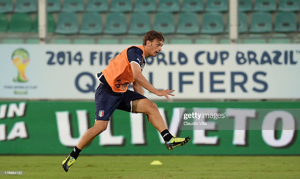 Manolo Gabbiadini of Italy during a training session at Stadio Renzo Barbera on September 5, 2013 in Palermo, Italy.