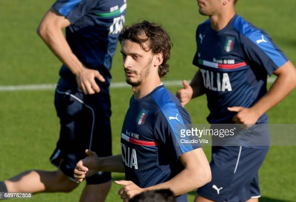 Manolo Gabbiadini of Italy in action during a training session at Coverciano at Coverciano on May 29 2017 in Florence Italy