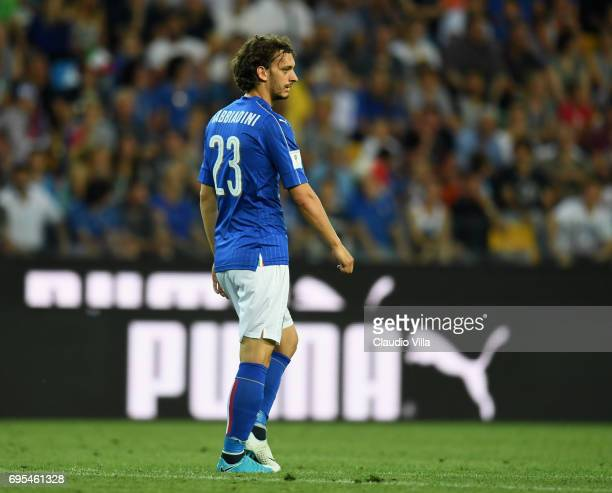Manolo Gabbiadini of Italy in action during the FIFA 2018 World Cup Qualifier between Italy and Liechtenstein at Stadio Friuli on June 11 2017 in...