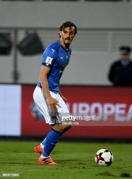 Manolo Gabbiadini of Italy in action during the FIFA 2018 World Cup Qualifier between Albania and Italy at Loro Borici Stadium on October 9 2017 in...