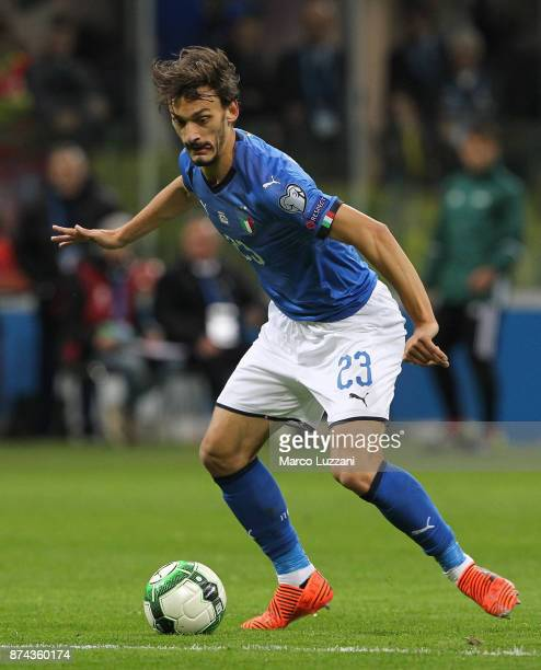 Manolo Gabbiadini of Italy in action during the FIFA 2018 World Cup Qualifier PlayOff Second Leg between Italy and Sweden at San Siro Stadium on...
