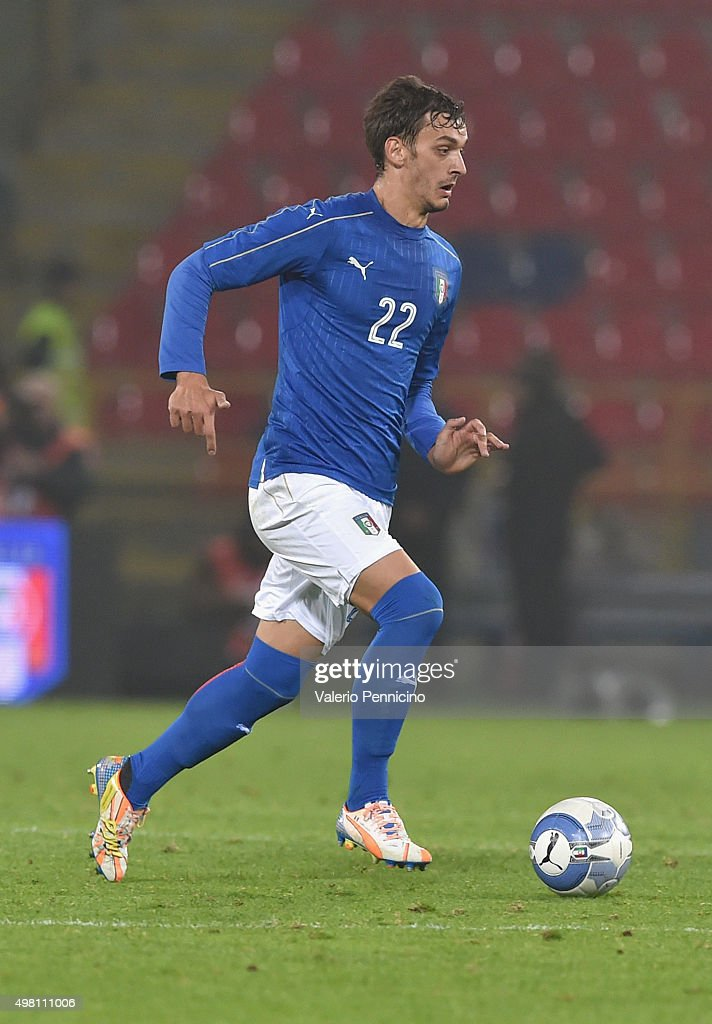 Manolo Gabbiadini of Italy in action during the international friendly match between Italy and Romania at Stadio Renato Dall'Ara on November 17, 2015 in Bologna, Italy.