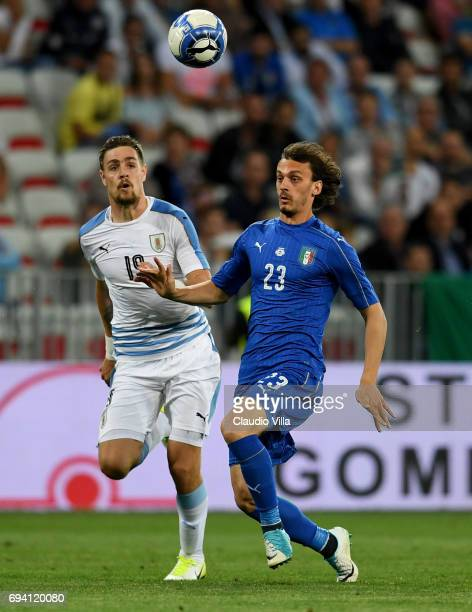 Manolo Gabbiadini of Italy in action during the International Friendly match between Italy and Uruguay at Allianz Riviera Stadium on June 7 2017 in...