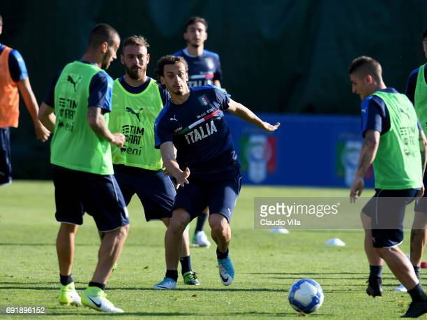 Manolo Gabbiadini of Italy in action during the training session at Coverciano at Coverciano on June 03 2017 in Florence Italy