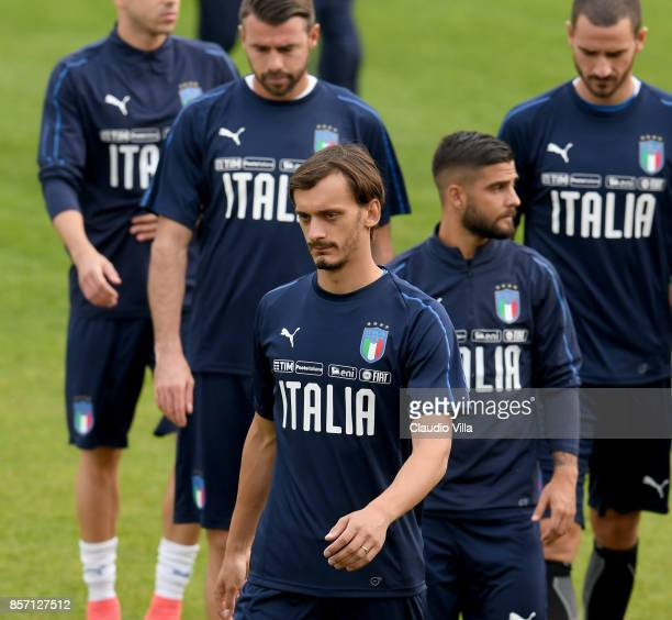 Manolo Gabbiadini of Italy looks on during a training session at Italy club's training ground at Coverciano on October 3 2017 in Florence Italy
