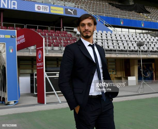 Manolo Gabbiadini of Italy looks on during Italy pitch inspection at Allianz Stadium on October 5 2017 in Turin Italy