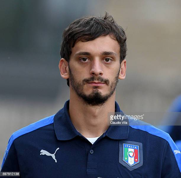 Manolo Gabbiadini of Italy looks on during the training session at the club's training ground at Coverciano on August 30 2016 in Florence Italy