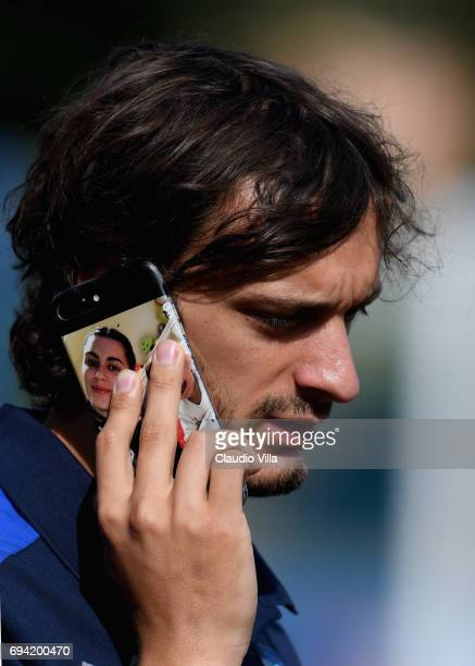 Manolo Gabbiadini of Italy looks on prior to the training session at Coverciano on June 09 2017 in Florence Italy