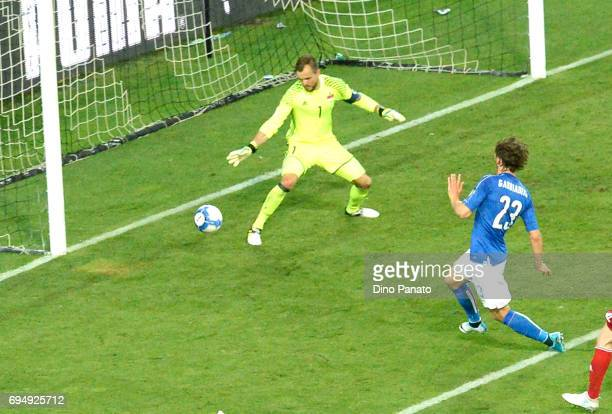 Manolo Gabbiadini of Italy scores his team's fivteth goal during the FIFA 2018 World Cup Qualifier between Italy and Liechtenstein at Stadio Friuli...