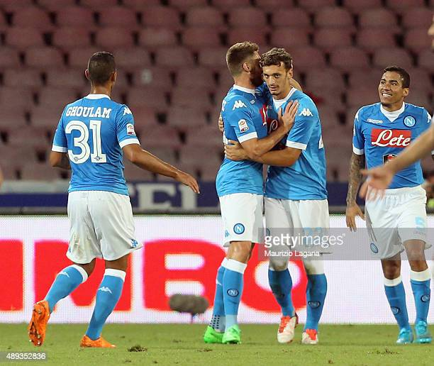 Manolo Gabbiadini of Napoli celebrates after scoring his goal during the Serie A match between SSC Napoli and SS Lazio at Stadio San Paolo on...