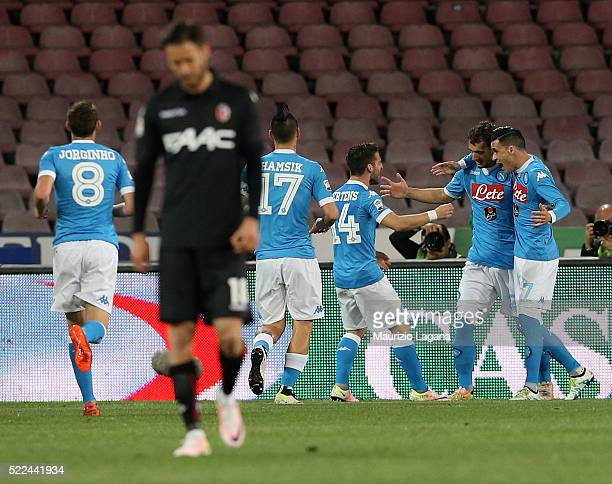 Manolo Gabbiadini of Napoli celebrates after scoring the opening goal during the Serie A match between SSC Napoli and Bologna FC at Stadio San Paolo...