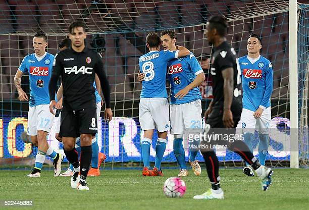 Manolo Gabbiadini of Napoli celebrates after scoring the second goal during the Serie A match between SSC Napoli and Bologna FC at Stadio San Paolo...