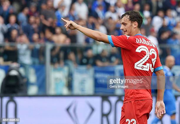 Manolo Gabbiadini of Napoli in action during the Serie A match between Empoli FC SSC Napoli at Stadio Carlo Castellani on September 13 2015 in Empoli...