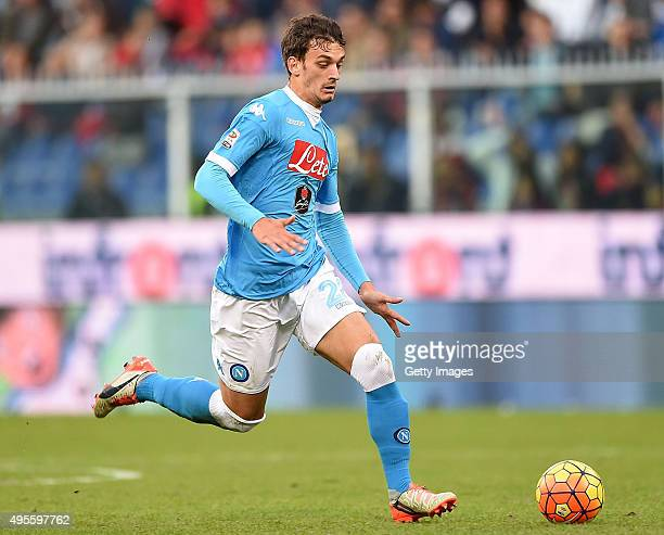 Manolo Gabbiadini of Napoli in action during the Serie A match between Genoa CFC and SSC Napoli at Stadio Luigi Ferraris on November 1 2015 in Genoa...