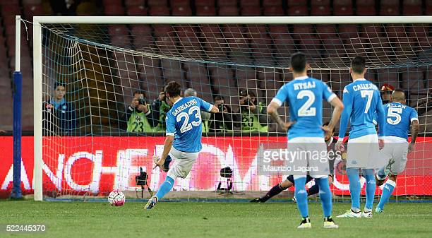Manolo Gabbiadini of Napoli scores his team's second goal with penalty during the Serie A match between SSC Napoli and Bologna FC at Stadio San Paolo...