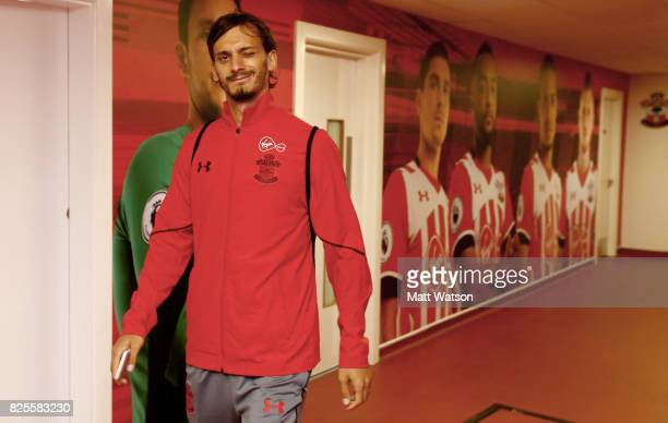 Manolo Gabbiadini of Southampton arrives during the preseason friendly between Southampton FC and Augsburg at St Mary's Stadium on August 2 2017 in...