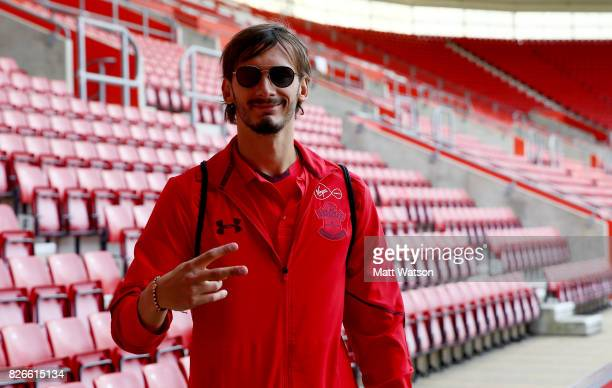 Manolo Gabbiadini of Southampton arrives prior to the preseason friendly between Southampton FC and Sevilla at St Mary's Stadium on August 5 2017 in...