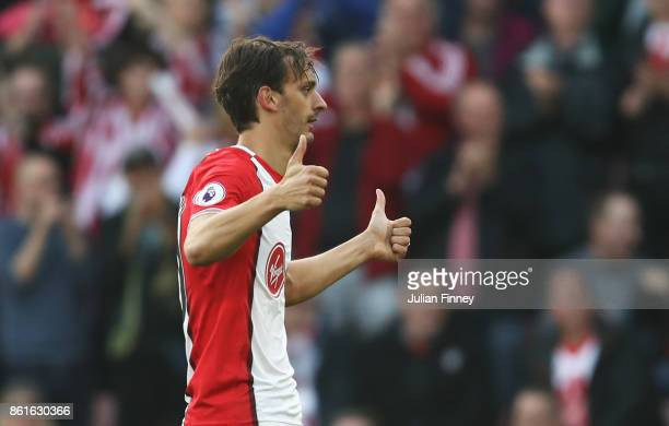 Manolo Gabbiadini of Southampton celebrates as he scores their first and equalising goal during the Premier League match between Southampton and...